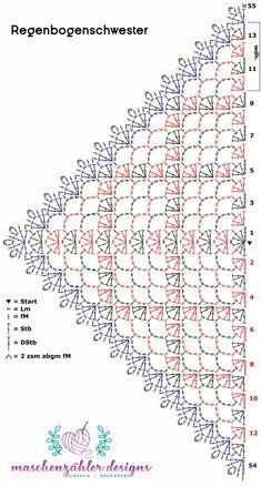 Crochet script for the rainbow sister cloth (Iris Pollak) - Love Amigurumi -. Crochet script for the Rainbow Nurse (Iris Pollak) – Love Amigurumi – knitting is as easy as Crochet Shawl Diagram, Crochet Chart, Crochet Motif, Crochet Lace, Crochet Stitches, Crochet Patterns, Crochet Ideas, Crochet Shawl Free, Irish Crochet