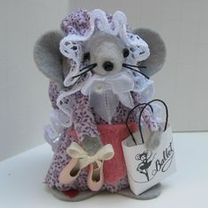 Pink Purple Ballerina Mouse ornament felt mice cute gift by Warmth, $15.00
