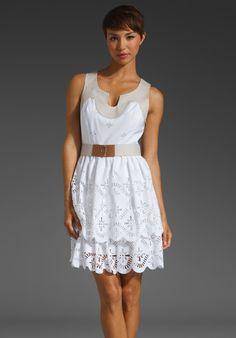 White and khaki eyelet dress