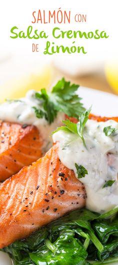 Salmón con Salsa Cremosa de Limón - Atıştırmalıklar - Las recetas más prácticas y fáciles Salmon Recipes, Fish Recipes, Seafood Recipes, Mexican Food Recipes, Great Recipes, Cooking Recipes, Healthy Recipes, Salmon Dishes, Fish Dishes