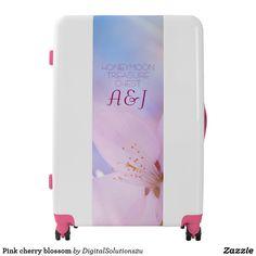 Pink cherry blossom luggage