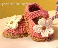 PDF Crochet Pattern MaryJanes Booties Shoes With Flowers Sizes Preemie TO 2…