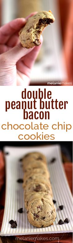 These soft and chewy Double Peanut Butter Bacon Chocolate Chip Cookies are absolutely loaded with flavor.  Peanut butter, peanut butter cups, chocolate chips and crumbled bacon all lend to the sweet and smoky flavor of these treats.