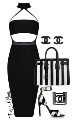 """Sexy & Striped"" by terra-glam ❤ liked on Polyvore featuring Givenchy, Yves Saint Laurent and Chanel"