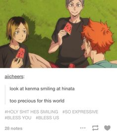 KENMA IS ACTUALLY SMILING HOW COULD I HAVE MISSED THIS GREAT PIECE OF HISTORY BEING MADE !!!! XD