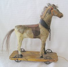 antique toys | Antique Leather Horse Pull-toy.