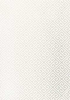 Thibaut, Enchantment, Maze, Pearl, T36163 is a wide width wallpaper which is inspired by the greek key decorative design in seven subtle to bold colours. Please click the additional information icon for the specifications on this wallpaper.