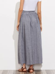 Grey Pinstripe Maxi Skirt Button Up Casual Women Self Tie Hidden Pocket Skirts Summer Bow Tie A Line Cotton Skirt Skirt Fashion, Fashion Outfits, Womens Fashion, Cute Modest Outfits, Denim Shirt Style, Hijab Style, School Dresses, Cotton Skirt, Skirts With Pockets