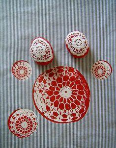 lace rock silkscreen on cotton ticking