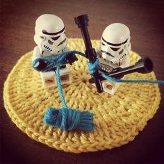 Trying to knit a star wars death star cozy