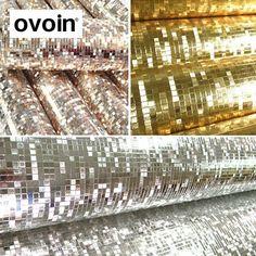 Mini mosaik Luxus glitter tapete hintergrund wand shiny goldfolie tapete silber decke wand papierwandverkleidung WP038