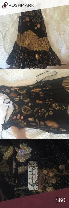 Free People Black Printed Dress Pretty free people slip dress. Worn once for senior pictures. Free People Dresses