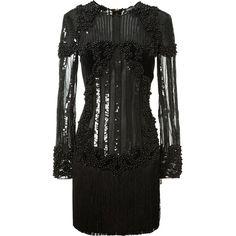 Balmain Black Velvet Dress Embellished With Black Beads And Sequins (340.975 RUB) ❤ liked on Polyvore featuring dresses, velvet dress, long-sleeve velvet dresses, fringe dress, velvet cocktail dress and sequin dresses