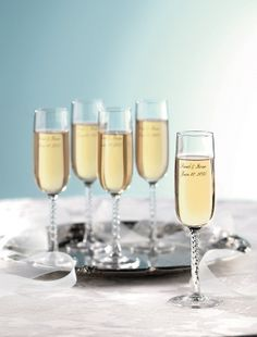 Favor Toasting Flutes with Silver Ink