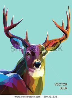 Colorful deer illustration.  Background with wild animal. Low poly deer with horns. - stock vector
