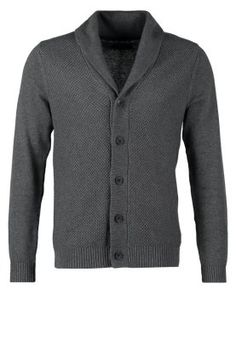 BATES SHAWL NECK CARDIGAN - Cardigan - medium grey malange