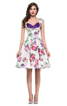 d06c75c636d8 Women Summer Dress Floral Pattern Rockabilly Retro Swing 50s Vintage Dresses  Pinup Housewife Picnic Dress H008901 Alternative Measures - Brides ...