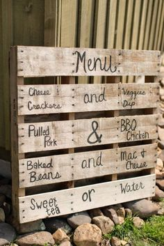 Creative 50th birthday party menu with a rustic theme.  See more planning a 50th birthday party ideas at www.one-stop-party-ideas.com                                                                                                                                                                                 More
