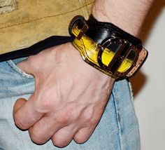 Wrist watch - Mens watch - Leather watch - Womens watch - Leather bracelet - Wrist cuff - Watch women - Watch men - Yellow - Unusual watch