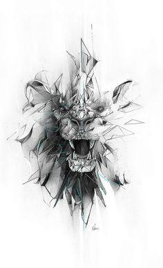 Broken grey geometric lion face tattoo design