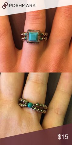 Turquoise ring Elastic ring with turquoise! Would fit size 5-8 ...will sell with the bracelet (see other post) for $35! Jewelry Rings