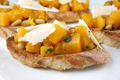 Roasted Butternut Squash Bruschetta - Surprise Your Taste Buds: baguette, olive oil, salt, butternut squash, olive oil, salt, chopped fresh sage, pinenuts, minced garlic, parmigiano reggiano cheese