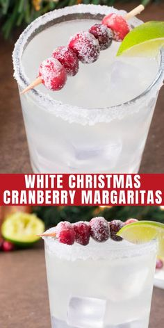 White Christmas cranberry margaritas are a festive cocktail to serve this Christmas season. Your guests will adore this Christmas margarita recipe. This Christmas cocktail will [. Winter Cocktails, Christmas Cocktails, Holiday Cocktails, Party Drinks, Cocktail Drinks, Fun Drinks, Yummy Drinks, Alcoholic Beverages, Mixed Drinks