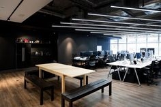 Minimalist black and white interior of 9GAG Office in Hong Kong designed by LAAB Architects