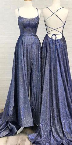 Cute Sparkly Cross Back Navy Blue Long Prom Dresses with Pockets,Split Evening Dresses,MP470 #cheappromdresses #Eeveninggowns #Promdresseslong #formaldresses #lacepromdresses #promgowns #ballgowns #Promdressesmermaid #Promdressshort #partydresses #eveningdresses #promdresses #mermaidpromdresses
