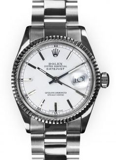 Rolex Men's Stainless Steel Oyster White Stick Dial Fluted Bezel Datejust
