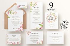 Printable Wedding Invitation Set Printable by PrintTheLoveBoutique
