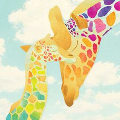 Harriet and Henry the Giraffes. Scanned textures, vector patterns and digital collage