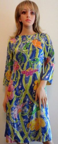Pamela Ferrari Original 100% Silk Signed Print Dress Size 4
