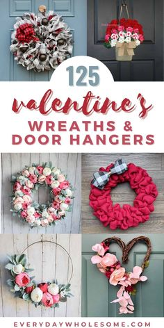 Check out these 125 Valentine's Day Wreaths & Door Hangers & Decorations Ideas for front doors and porches including DIY deco mesh for kids. Flowers, hydrangeas, magnolias, door hangers, wreaths, grapevines, metal hoops, wood bead wreaths, farmhouse decor, rustic wood signs & door hangers. #springwreath #februarywreath #valentineswreath #valentinesdecor #februarydecor #doorhangers