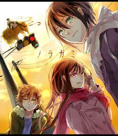 (front) Yukine & Hiyori & Yato (back) Kazuma (shinki form) & Bishamon | Noragami #anime