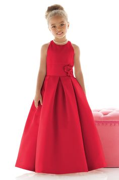 Shop Dessy Flower Girl Dress - in Matte Satin at Weddington Way. Find the perfect made-to-order flower girl dress for the little girl in your wedding. Fashion Kids, Little Girl Fashion, Party Fashion, Little Girl Dresses, Girls Dresses, Red Flower Girl Dresses, Flower Girls, Pageant Dresses, Baby Dress