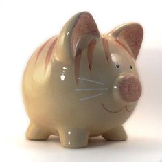 Personalized Piggy Bank  Kitty Cat  Orange Tabby  by ThePigPen, $42.50
