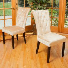 Juliette Beige Velvet Dining Chairs (Set of 2)