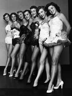 """These comely misses will be among several hundred Memphis dance students who will participate in the second annual """"Holiday Revue"""" for the benefit of Memphis and Shelby County blind persons. The program will be held at Ellis Auditorium in November 1954. The dancers are (From Left) Alice Gassaway, Kathy Conklin, Elise Holland, Barbara Dell Joyner, Mollyan Howell, Patricia Williams and Jerri Deason."""