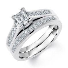 Dazzling Princess Cut Diamond Bridal Set 14k White Gold - Stunning with Luminous Pave Diamonds - http://www.mybridalring.com/Engagements-Rings/princess-cut-diamond-bridal-set-in-14k-white-gold/