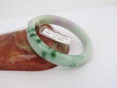 Vintage Translucent Natural Emerald Floral Green Lavender Jadeite Jade Bangle…