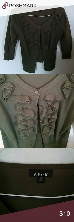 Olive green cardigan Olive green cardigan with ruffles and quarter length sleeves A Byer Sweaters Cardigans