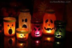 DIY Halloween Mason Jar Lanterns. So stinking CUTE!