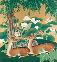 Featuring pieces on loan from the Hokkaido Museum of Art, this exhibition focuses on contemporary nihonga (Japanese-style painting), a modern form of Japan Forrest Illustration, Photo Illustration, Museum Of Modern Art, Art Museum, Japanese Site, Motifs Animal, Japanese Painting, Water Lilies, Asian Art