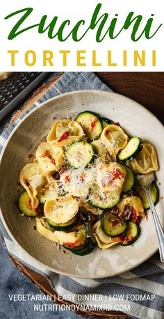 This recipe for Zucchini Tortellini can't get much easier! If you don't have tortellini or have a gluten restriction, you can easily substitute your favorite type of pasta instead. Healthy Vegetable Recipes, Healthy Vegetables, Healthy Cooking, What's Cooking, Easy Vegetarian Dinner, Vegetarian Recipes Easy, Vegetarian Options, Vegetarian Food, Dinner Entrees