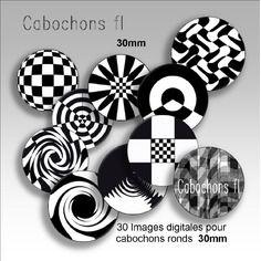 Images digitales bijoux ronds 30mm noir et blanc