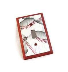 Baseball Room Decor Wood Switch Plate. $15.00, via Etsy. #baseball #sports #decor #homedecor