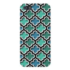 Unique, trendy and pretty iPhone 5 case. Beautiful classic turquoise, blue and teal Moroccan quatrefoil lattice design. Vintage retro trellis mosaic trellis pattern made for the trend setter, modern abstract geometric or nouveau deco lover. Cute and fun gift for girly girls or mom's birthday, Mother's day, or Christmas present. Classy, chic, elegant and cool phone cover for the sophisticated woman. Also available for iPod Touch 4G 5G, Galaxy S2 S3, iPhone 3 4, Motorola Droid Razr, iPad etc.