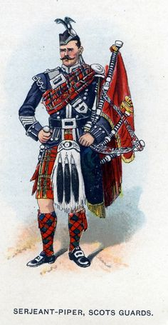 British;Scots Guards, Sergeant Piper c.1912 from Bands of the British Army by W.J. Gordon and illustrated by F. Stansell