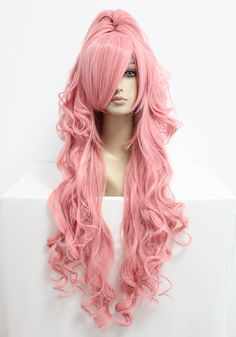 MCOSER 무료 배송 90 센치메터 긴 보컬 로이드 메구 리네 루카 핑크 코스프레 의상 애니메이션 가발 + 포니 테일